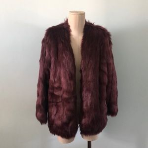 Lovers+friends Burgundy faux fur coat